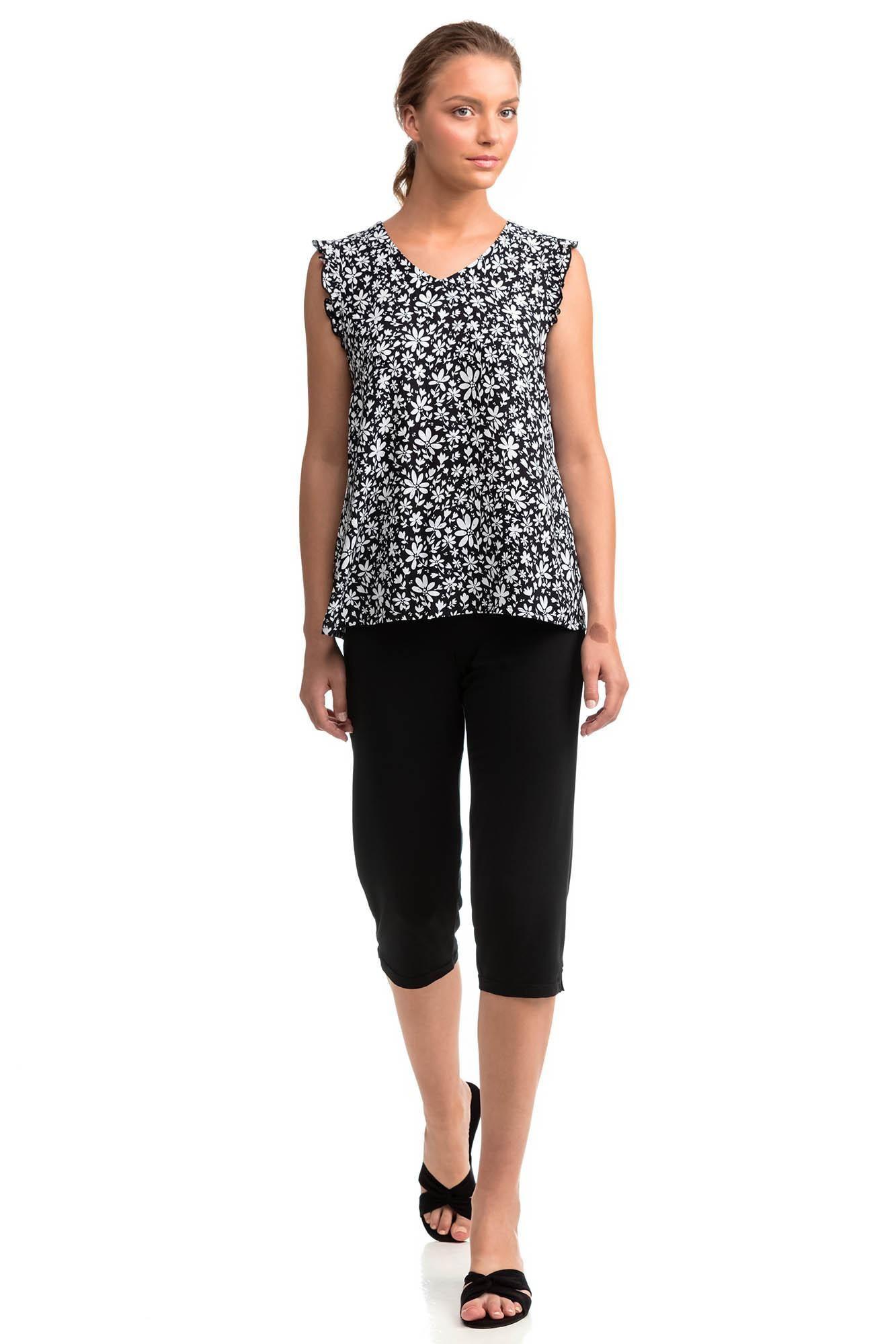 Dvojdielne dámske pyžamo 14056 čierna s bielou M