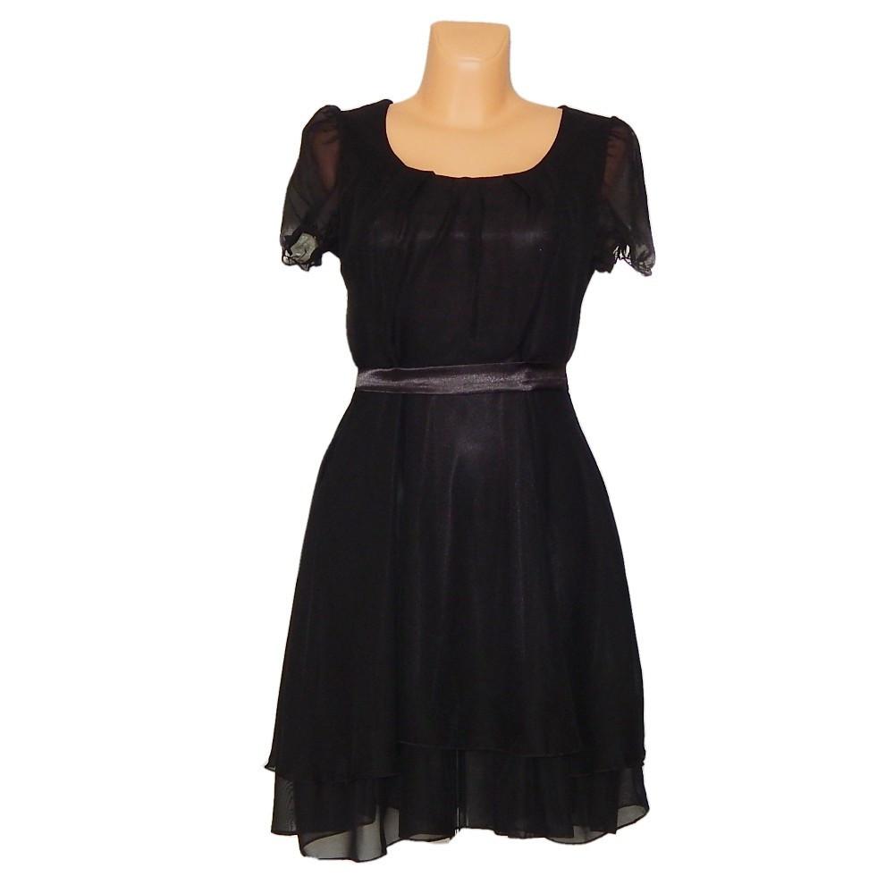 PROM Dámske párty a plesové šaty stredne dlhé čierne - Čierna / M - OEM čierna M
