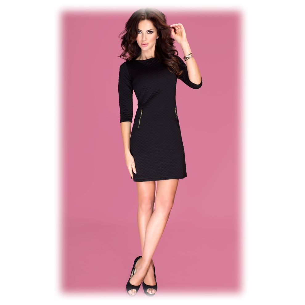 Dámske zimné prešívané zateplené šaty so zipsami čierne - Čierna / XL - Numoco černá XL