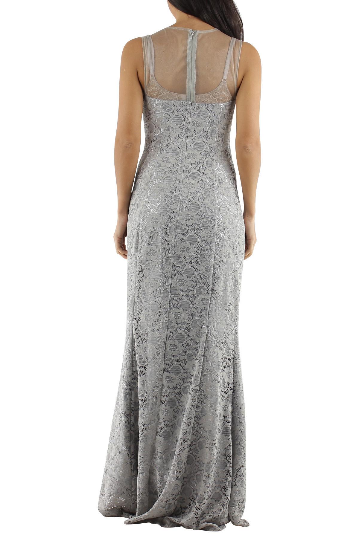 Spoločenské a plesové šaty krajkové dlhé luxusné značkové CHARM'S Paris sivé - Šedá / XS - CHARM'S Paris šedá XS