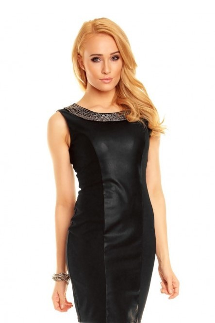 Spoločenské šaty EMILIE bohato zdobené okolo výstrihu čierne - Čierna / XS - Best Emilie Fashion čierna S