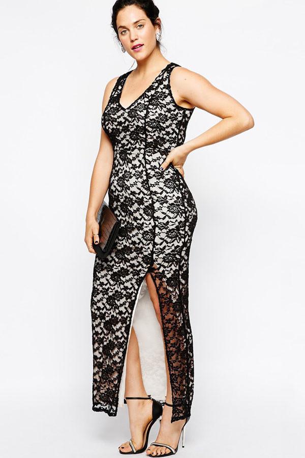 Spoločenské šaty pre plnoštíhle krajkové MARGAUX dlhé čierne - Čierno-biela / XL - OEM XL