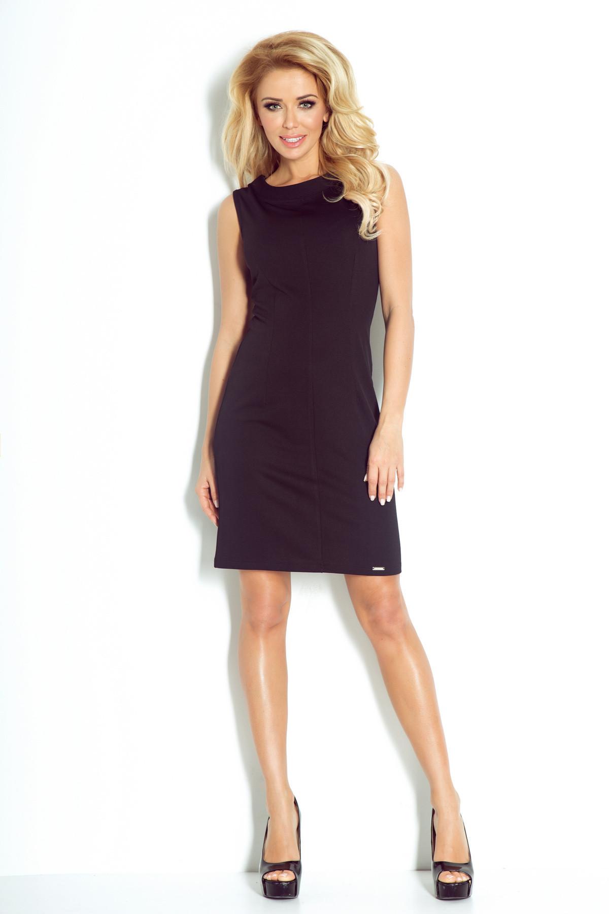 Dámske spoločenské šaty značkové vypasované bez rukávu krátke čierne - Čierna / XL - Numoco čierna XL
