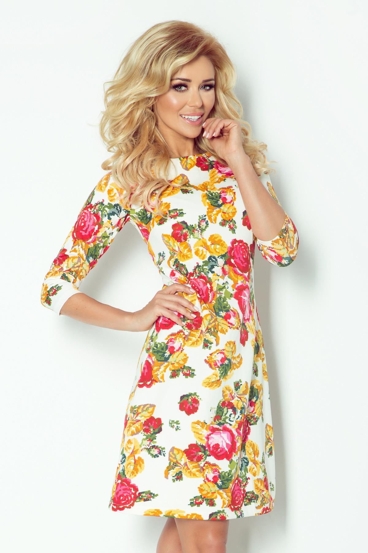 Dámske spoločenské šaty BLOSSOM s kvietkovaným motívom krátke kvetované - Kvetovaná / L - Numoco smetanová L