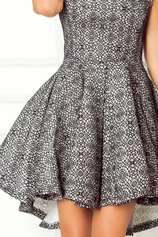 Dámske spoločenské šaty s asymetrickou sukňou krátke biele s čiernou čipkou - Čierno-biela / XL - Numoco XL
