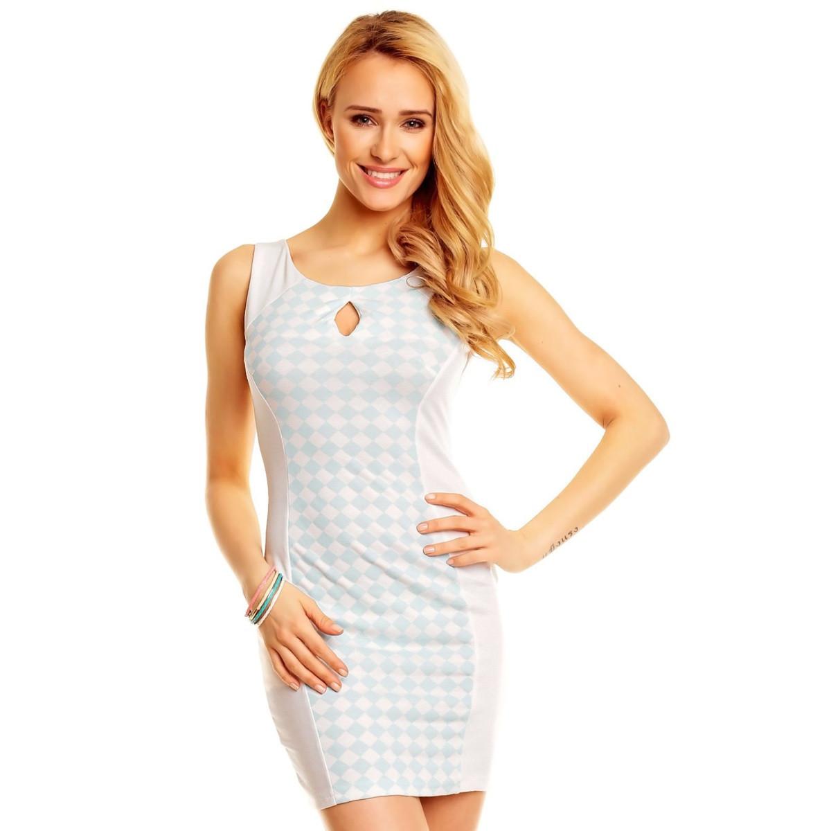 Dámske letné šaty v zoštíhľujúcim strihu krémová a aqua - Biela / M / L - OEM krémová L