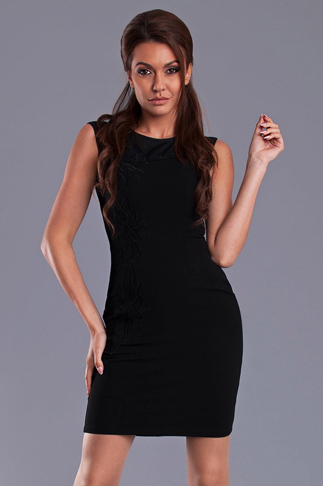 Dámske krátke šaty EMAMODA čierne - Čierna / L - EMAMODA čierna L