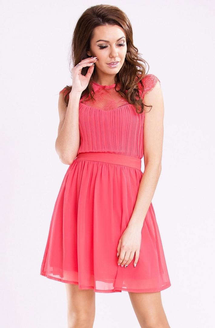 Dámske spoločenské šaty s rozšírenou sukňou EMAMODA malinové - Malinová / L - YNS malinová L