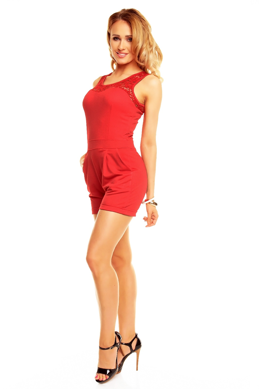 Overal dámský šortkový LV GOLD 2471 červený - Červená / UNI - House Style uni