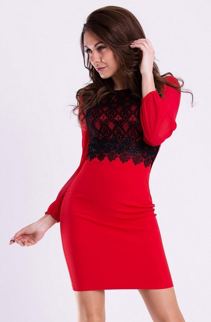 Dámske spoločenské šaty EMAMODA s dlhými rukávmi červeno-čierne - Červená / L - EMAMODA červeno-čierna L