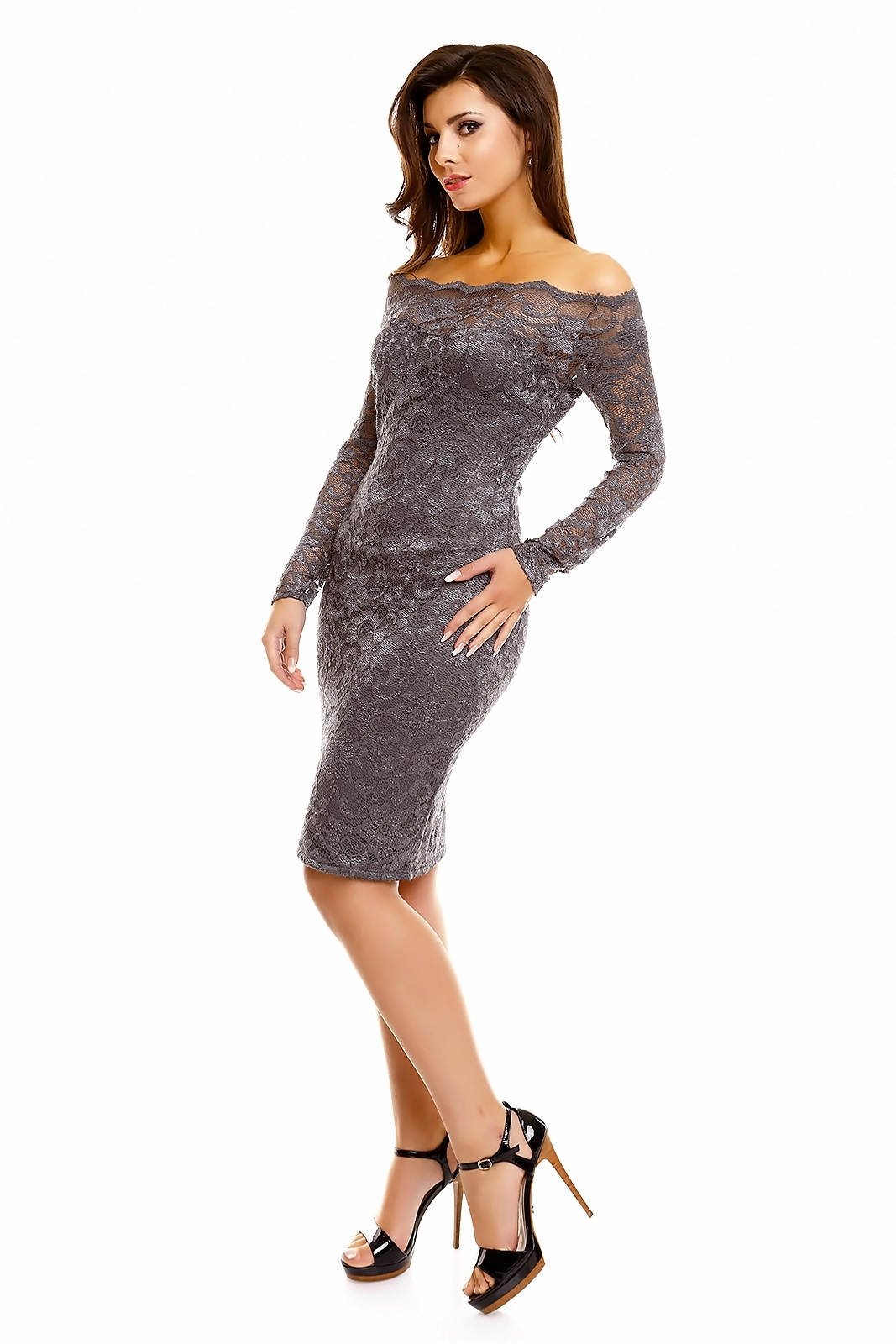Dámske spoločenské šaty MAYAADI krajkové s dlhým rukávom krátke tmavo šedé - Šedá / XL - MAYAADI tmavo šedá XL
