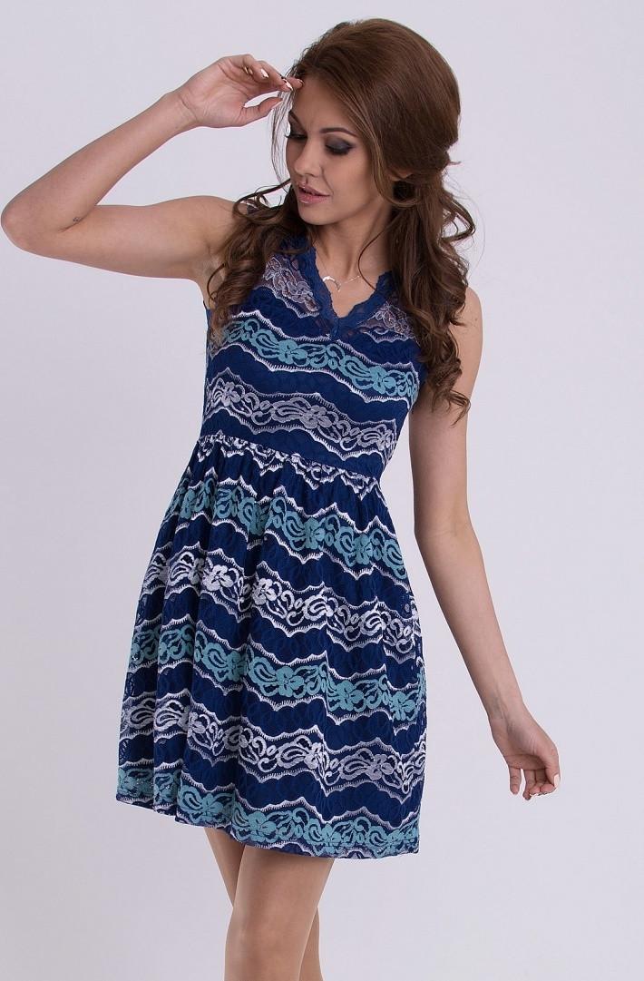 Dámske spoločenské šaty EMAMODA pokryté čipkou tmavo modré - Tmavo modrá / M - EMAMODA tmavo modrá M