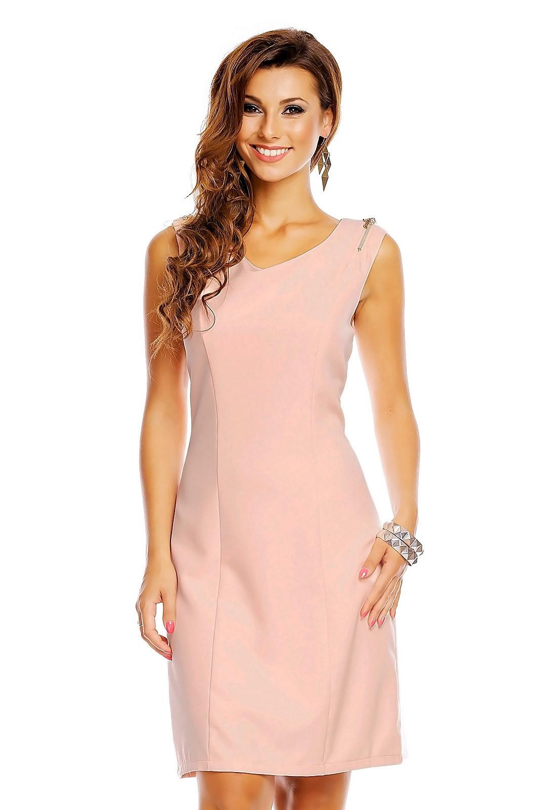 Spoločenské šaty značkové moderný strih s ozdobnými zipsami na ramenách ružové - Ružová / XL - J & J lososová XL