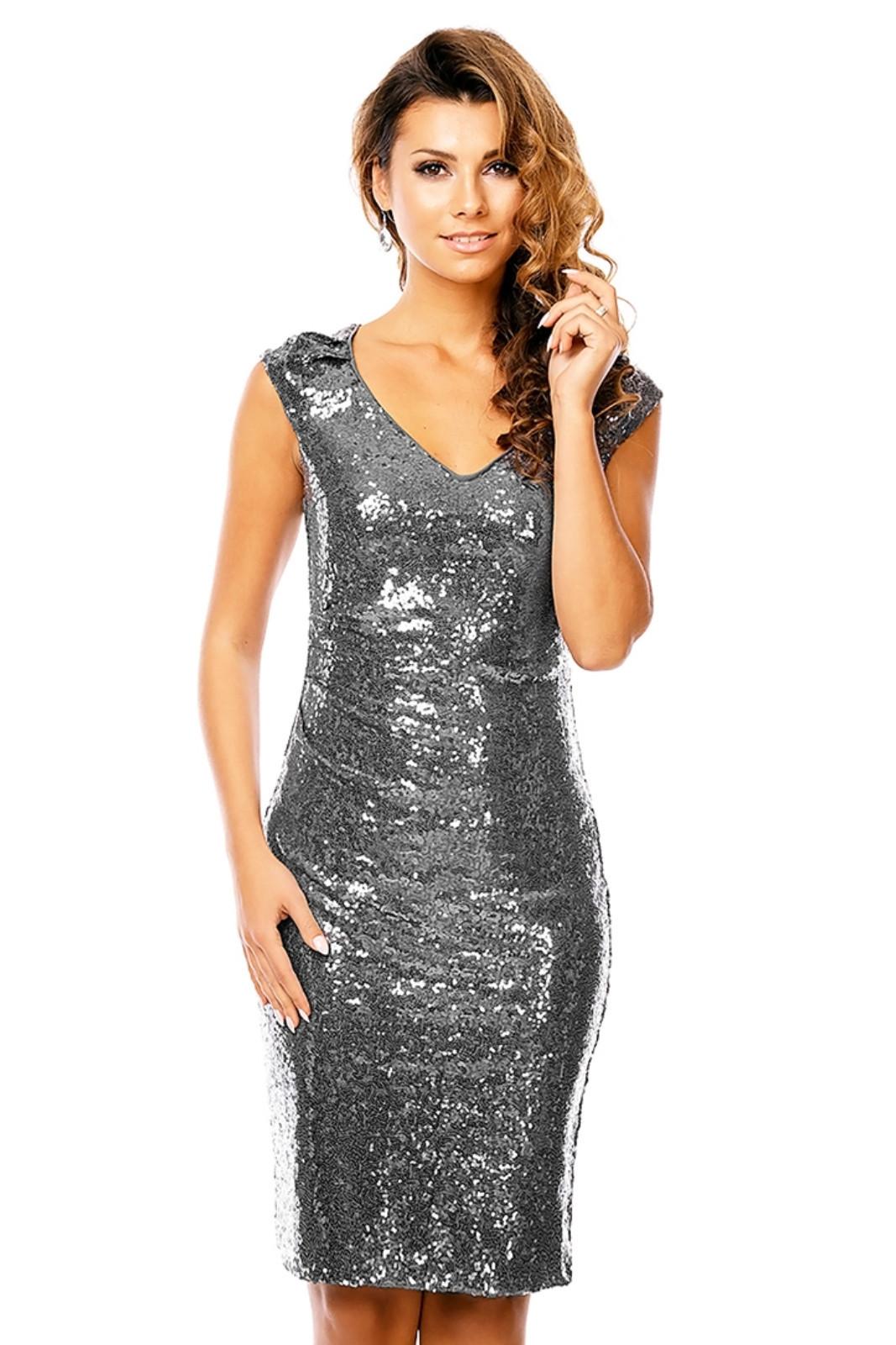 Spoločenské a plesové šaty flitrové značkové MAYAADI bez rukávov sivé - Sivá / S - MAYAADI šedá S