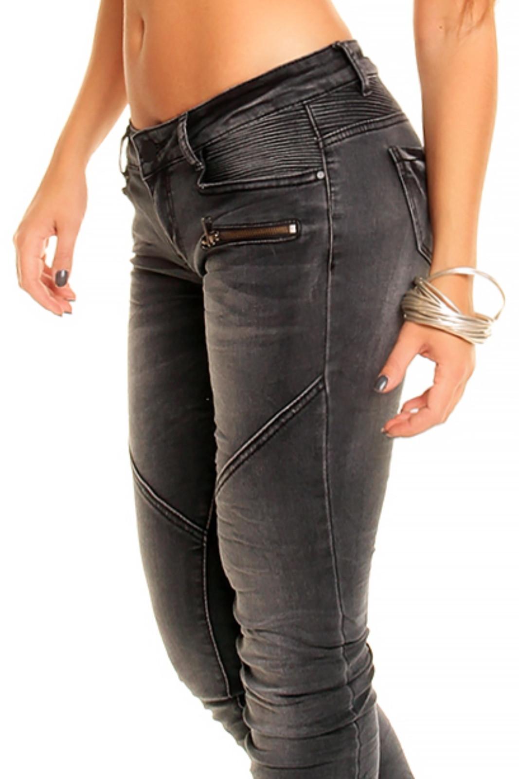 Dámske džínsy značkové elastické REDIAL 2055-1 DG zdobené prešívaním a zipsom na nohavici dlhé tmavo šedé - Tmavo šedá / XS - REDIAL 34