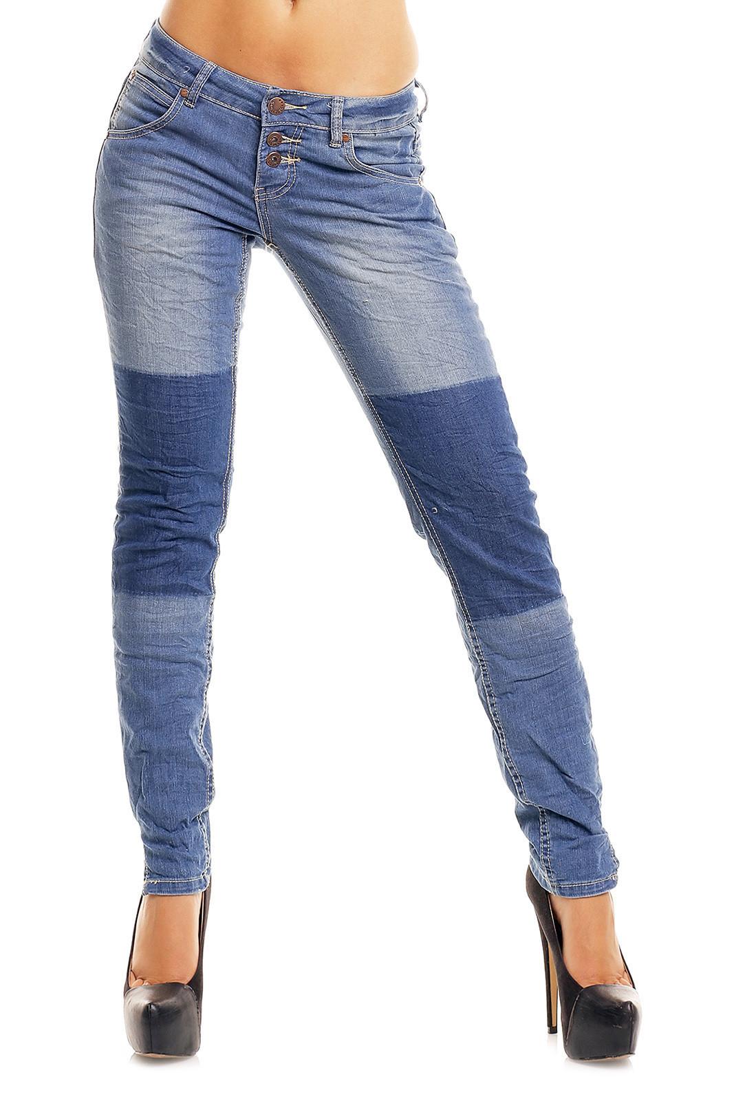 Dámske džínsy značkové elastické Sublevel 8731 BL zdobené pruhom na nohavici s tromi gombíkmi modré - Modrá / L - Sublevel L