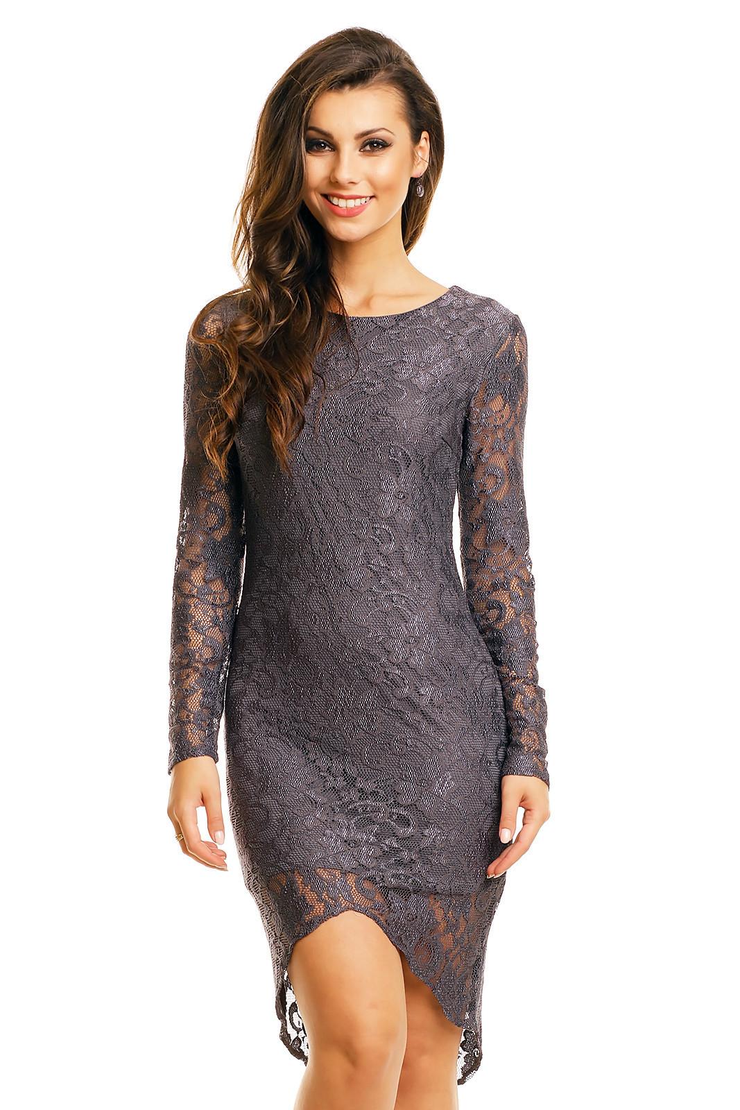 Spoločenské šaty MAYAADI krajkové s asymetrickou sukňou tmavo šedé - Šedá / XL - MAYAADI šedá XL