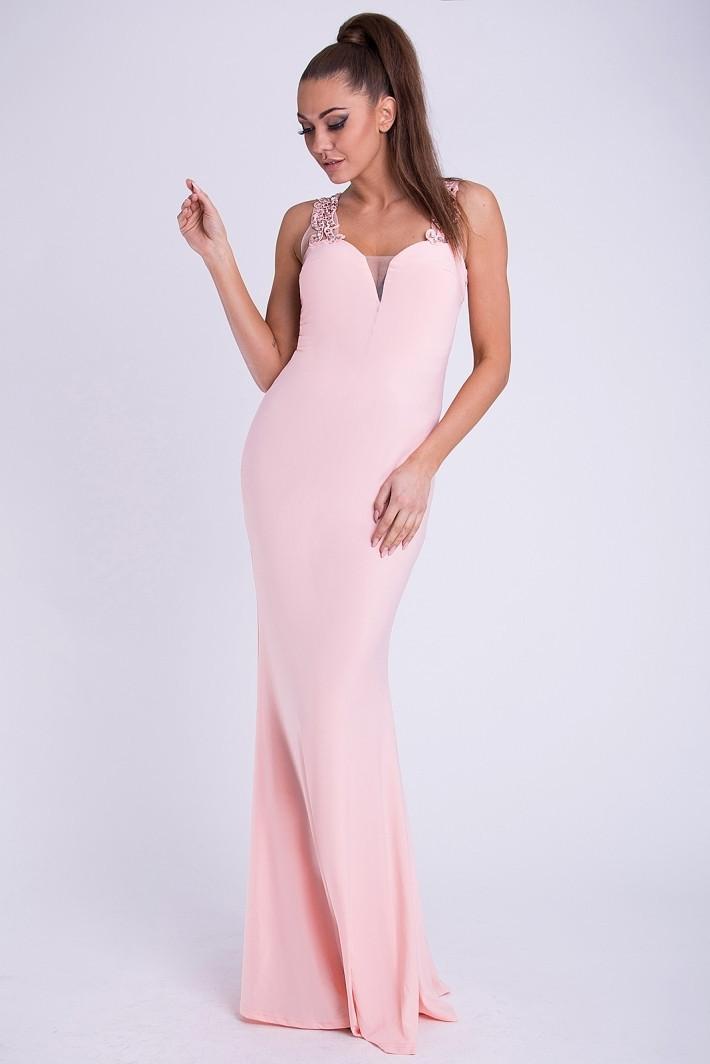 Dámske značkové luxusné dlhé plesové šaty EVA & LOLA lososová - Ružová / M - EMAMODA lososová M