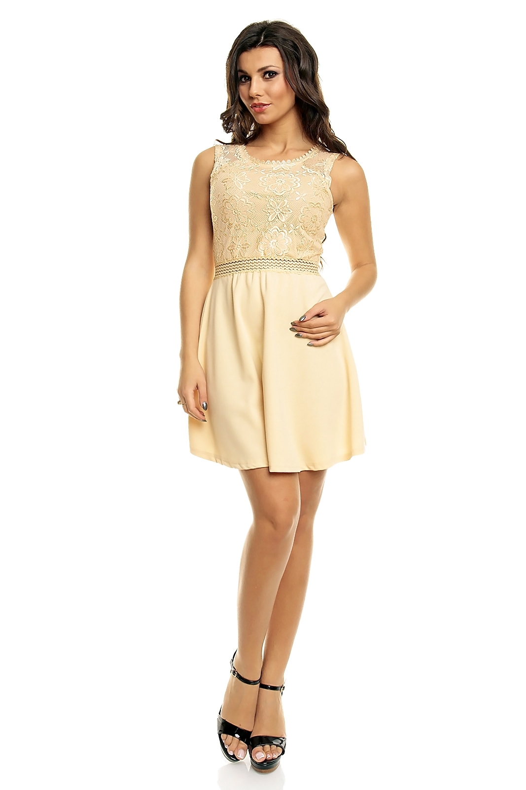 Dámske šaty PARIS ET MOI s čipkovaným živôtikom krátke béžové - Béžová / L - Paris Et Moi béžová L