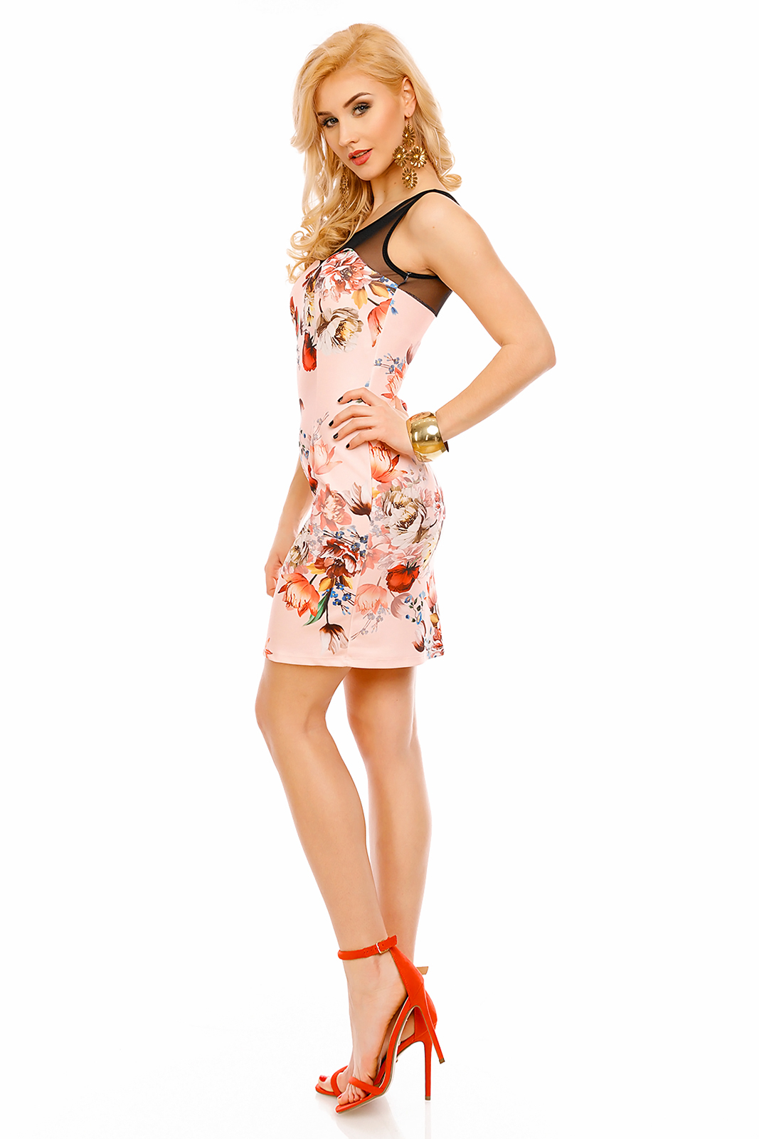 Spoločenské a párty šaty značkové vypasované bez rukávu ružové - Ružová / UNI - Made in ITALY UNI