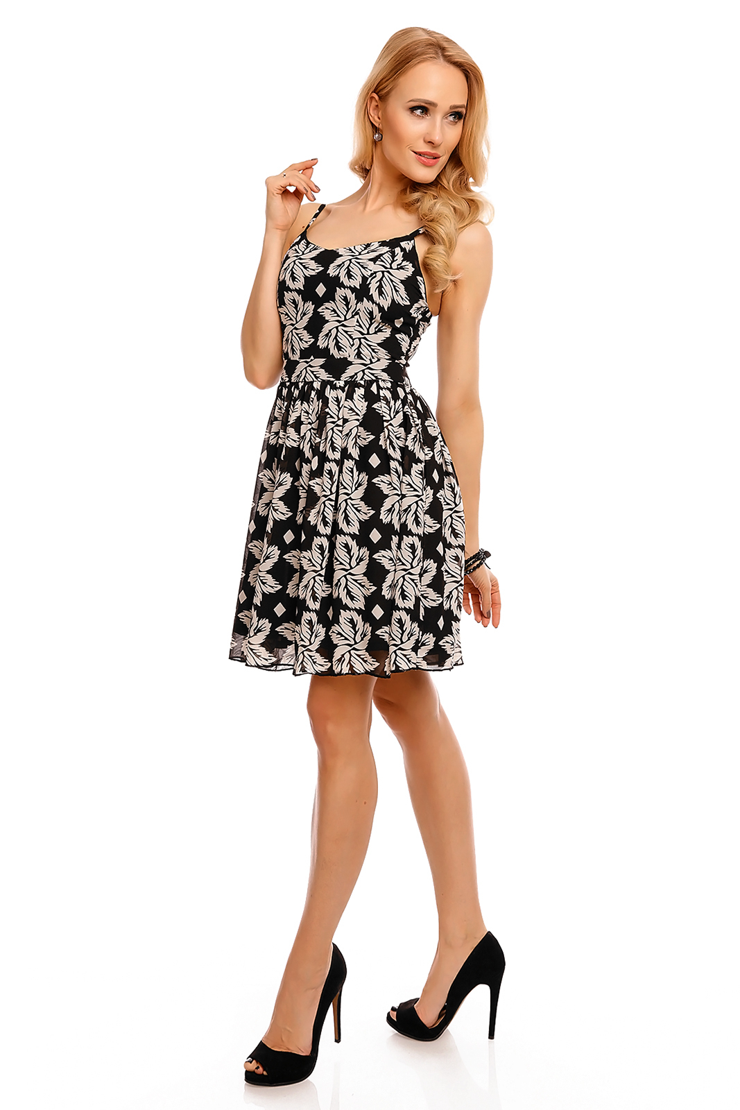 Dámske šaty na leto na párty a do spoločnosti na ramienka čierne - Čierna / L - drobí DE COPINE čierna-biela L