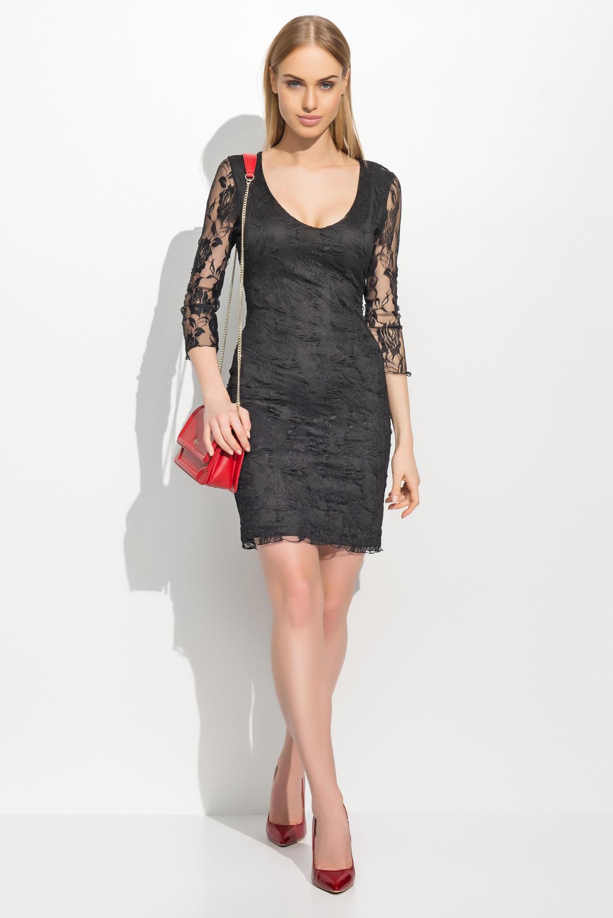 Dámske spoločenské šaty krajkové s 3/4 rukávom krátke čierne - Čierna / S - Makadamové čierna 36