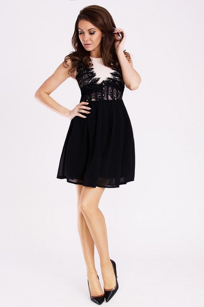 Dámske spoločenské šaty s rozšírenou sukňou EMAMODA čierne-kapučíno - Čierna / L - YNS čierna L