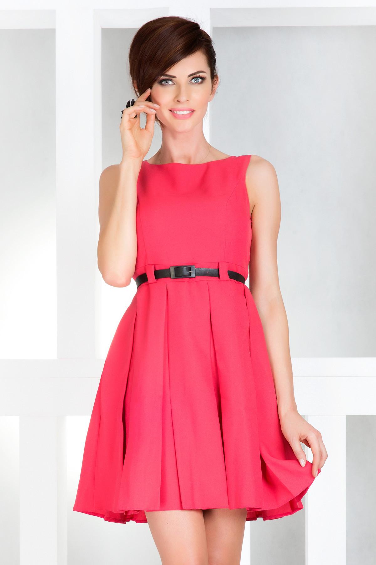 Dámske spoločenské šaty NUMOCO s opaskom stredne dlhé ružové - Ružová / XL - Numoco ružová XL