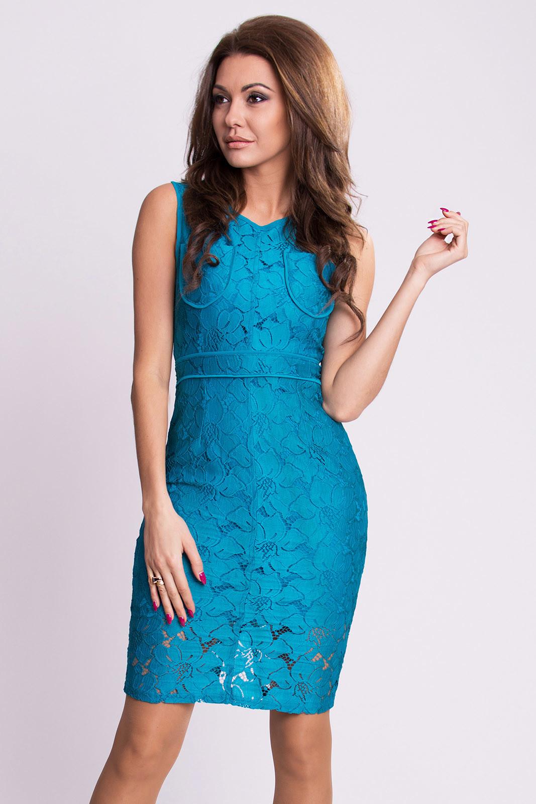 Dámske krajkové šaty EMAMODA modré - Modrá / S - EMAMODA modrá S