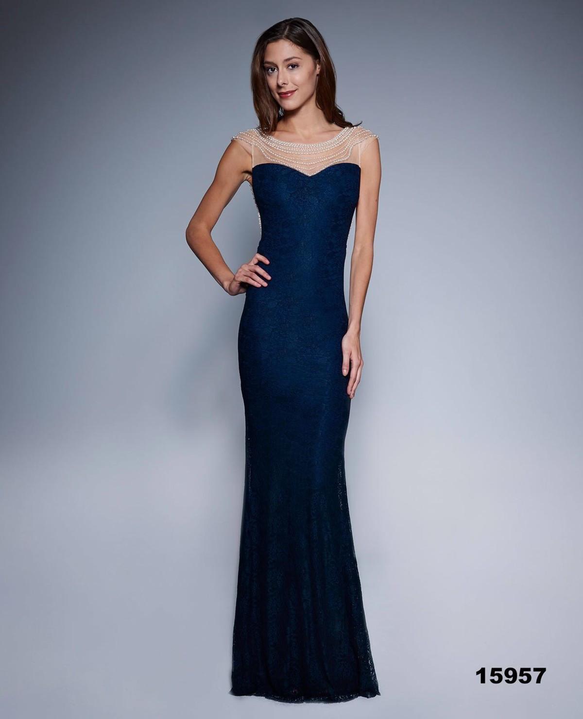 Dámske spoločenské šaty šoky soka s perličkami a čipkou dlhé tmavo modré - Tmavo modrá / XL - šoky & soka temne modrá S