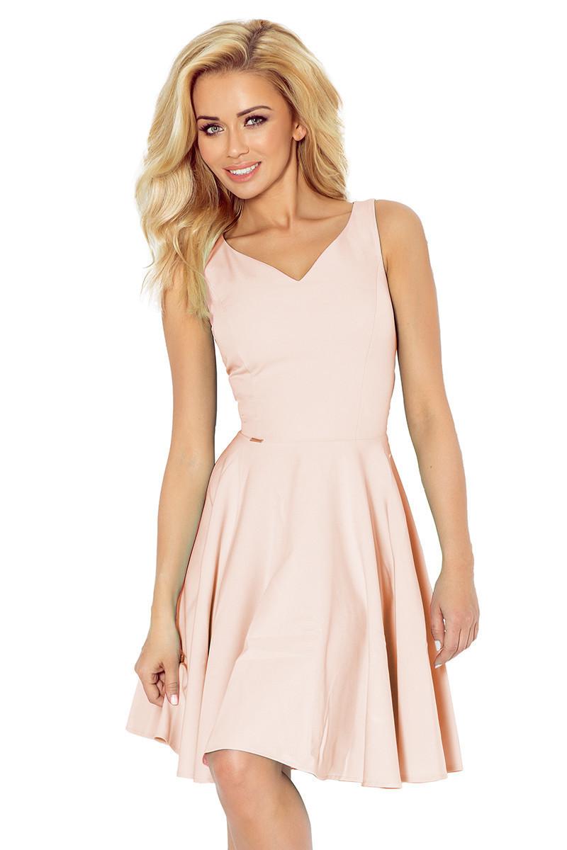 Spoločenské šaty luxusné s kolovou sukňou stredne dlhé svetlo ružová - Ružová / XL - Numoco svetlo ružová XL