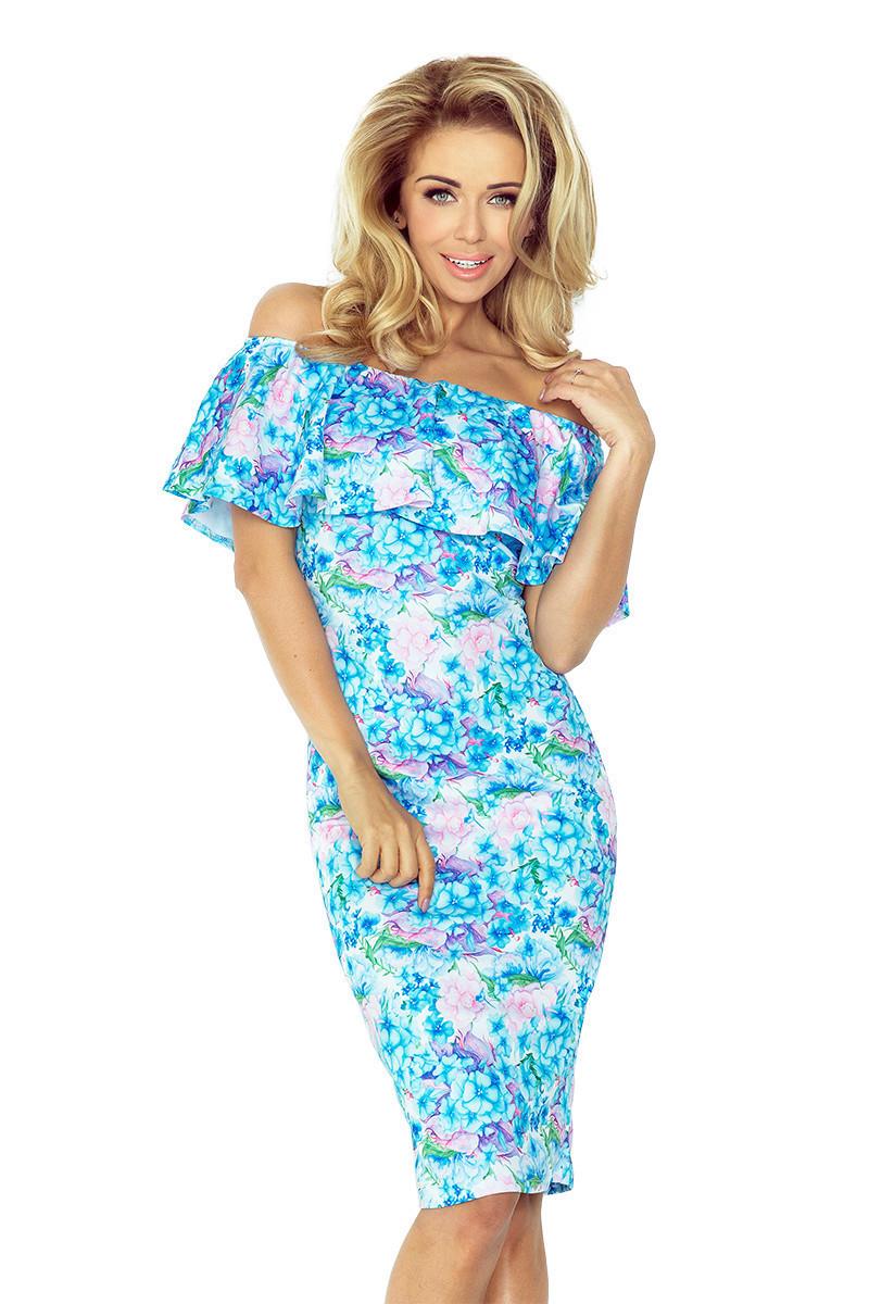 Dámske šaty s volánom a potlačou kvetín modré - Modrá / M - Numoco kvetinový print M