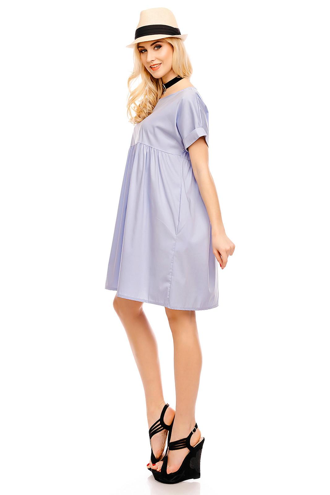 Dámské šaty volného střihu středně dlouhé světle modré - Modrá / UNI - Pronto Moda světle modrá uni
