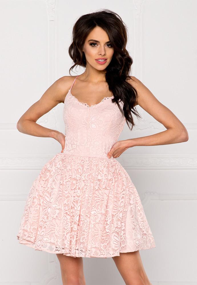 Spoločenské dámske šaty na ramienka krajkové s kolovou sukňou ružové - Ružová / L - Sherri L