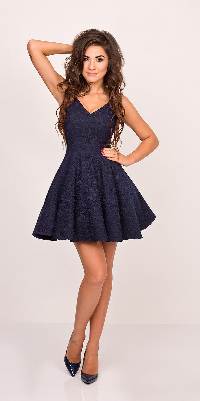Spoločenské dámske šaty na ramienka s kolovou sukňou tmavo modré - Tmavo modrá / XS - Sherri XS