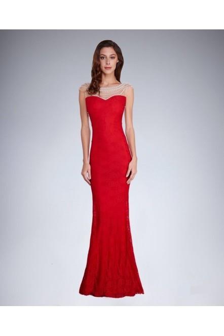 Dámske spoločenské šaty šoky soka s perličkami a čipkou dlhé červené - Červená / S - šoky & soka červená S