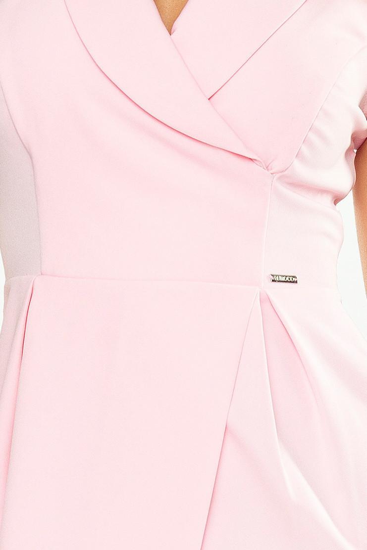 Dámske spoločenské šaty s golierom a prekríženie sukní ružové - Ružová / XL - Numoco ružová XL