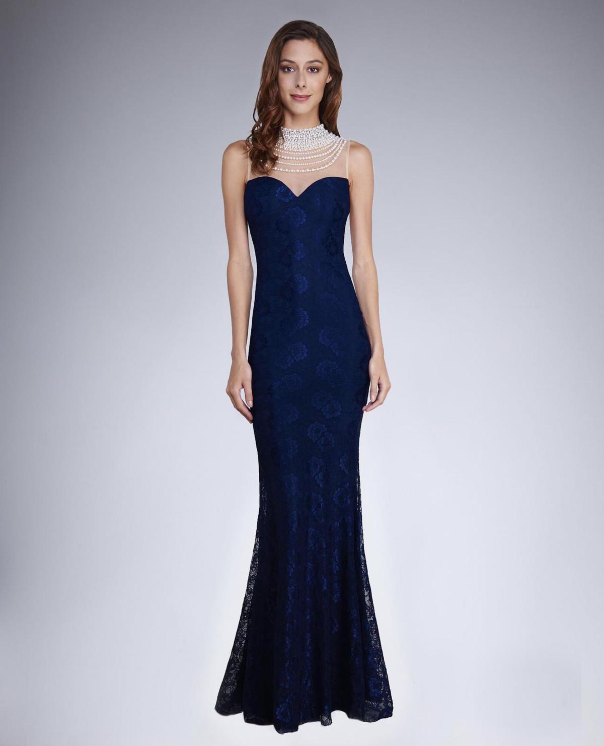 Dámske spoločenské šaty šoky soka s čipkou a perličkami dlhé tmavo modré - Tmavo modrá / XL - šoky & soka XL