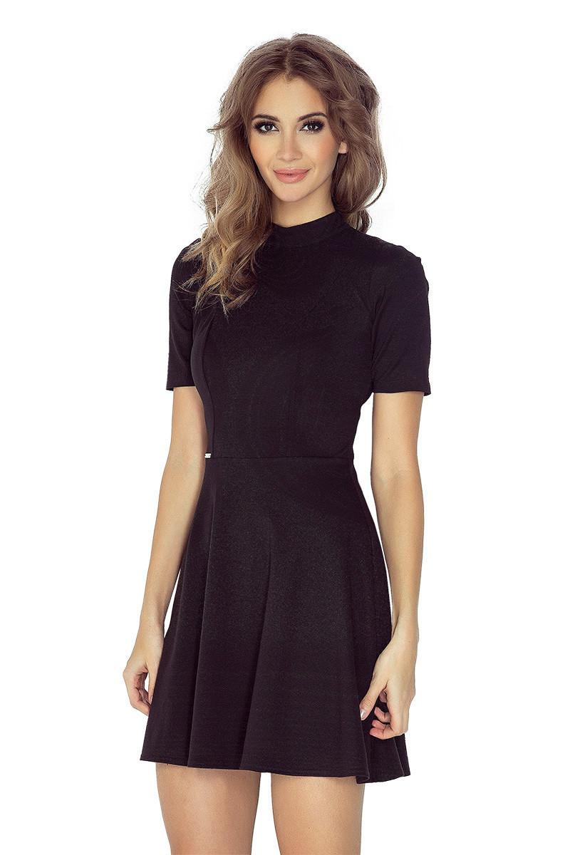 Dámske šaty s rolákom a krátkym rukávom krátke čierne - Čierna / L - Morimia černá L