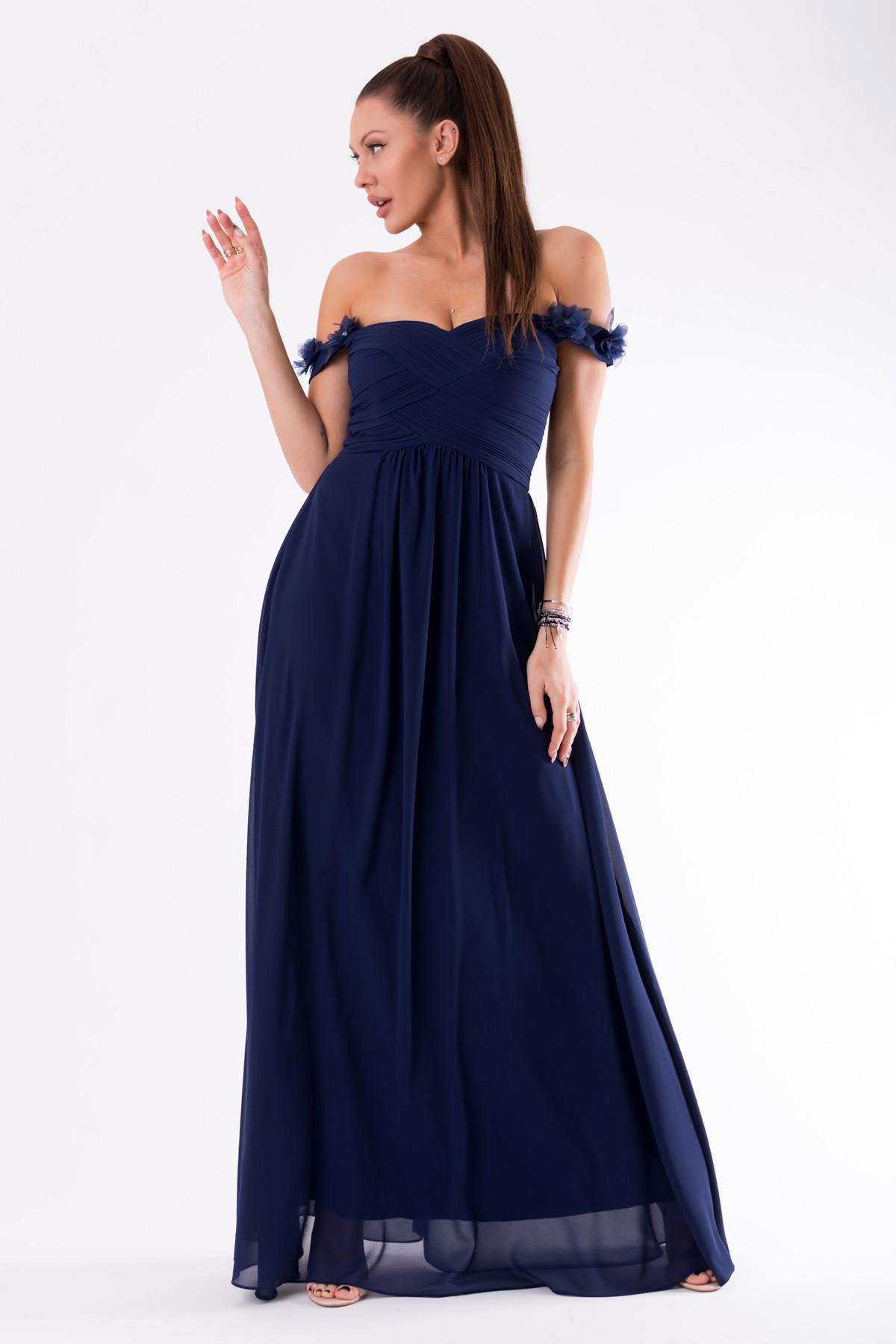 Dámske plesové šaty EVA & LOLA sa spadnutými rukávy dlhé tmavo modré - Tmavo modrá / L - EVA & LOLA L