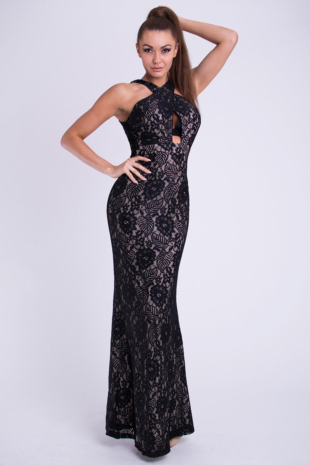 Dámske značkové dlhé plesové spoločenské šaty EVA & LOLA čierne - Čierna / L - EMAMODA čierna L