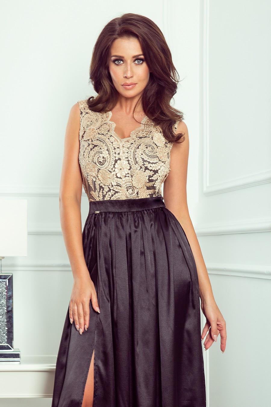 Dámske plesové šaty s čipkovaným dekoltom dlhé čierne - Čierna / XL - Numoco XL