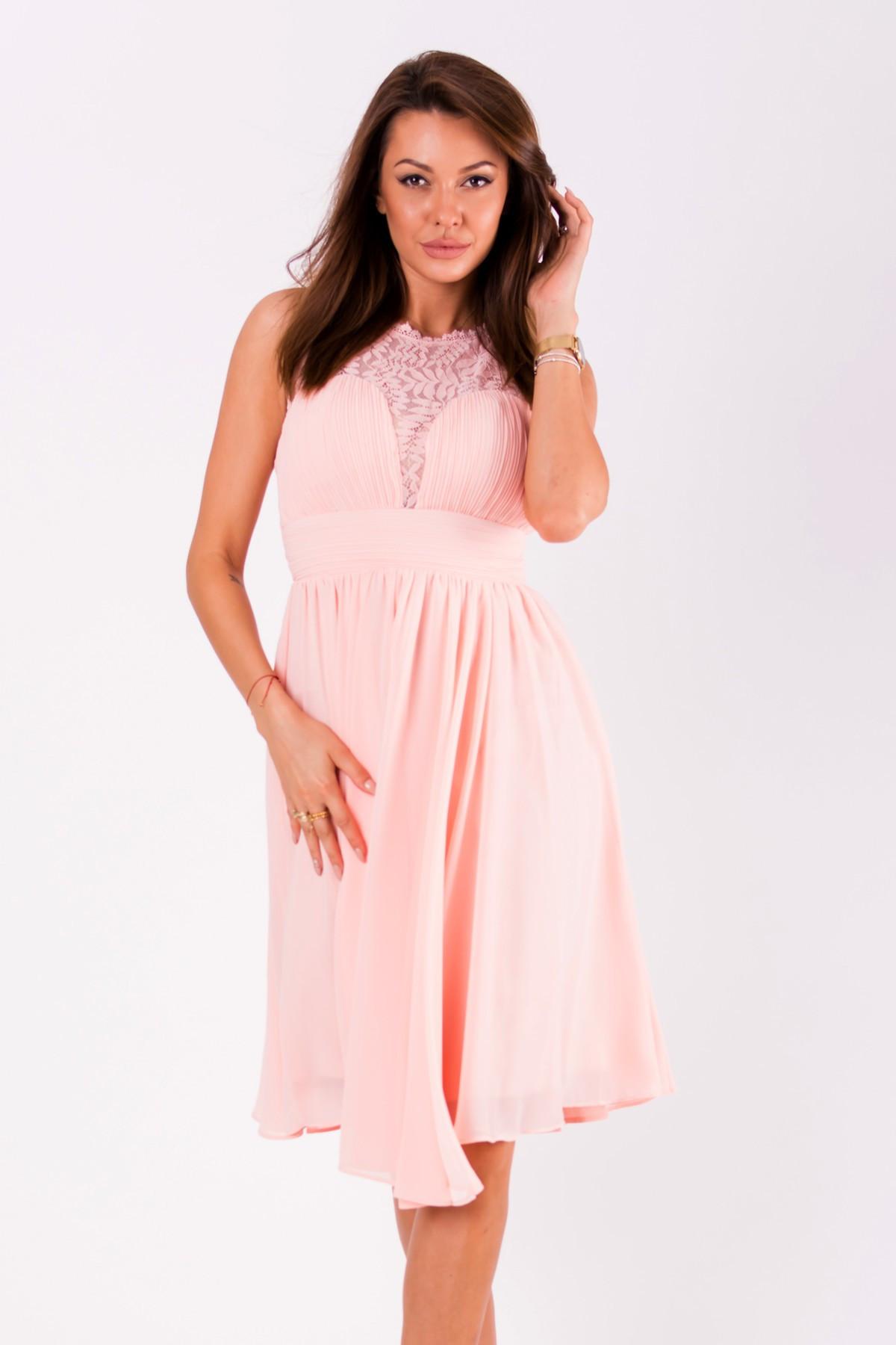 Dámske spoločenské šaty EVA & LOLA stredne dlhé ružové - Ružová / S - EVA & LOLA S
