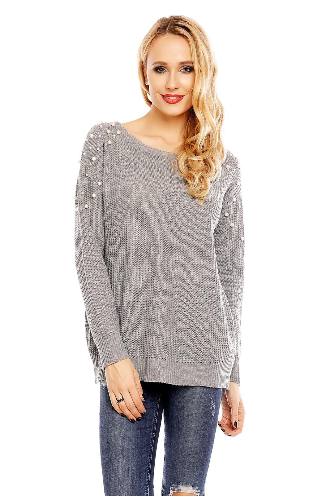 Dámsky sveter s ozdobnými perličkami sivý - sivé / UNI - House Style šedá UNI