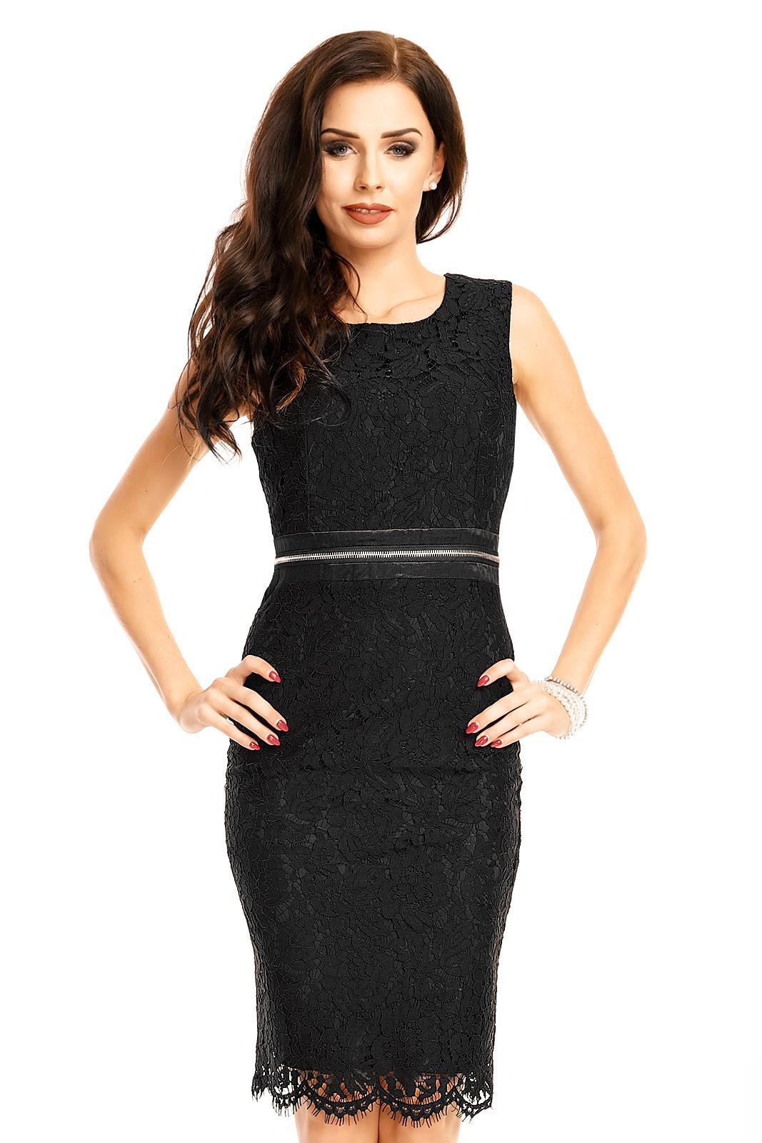 Čipkované dámske šaty bez rukávov stredne dlhé čierne - Čierna / XL - MAYAADI čierna XL