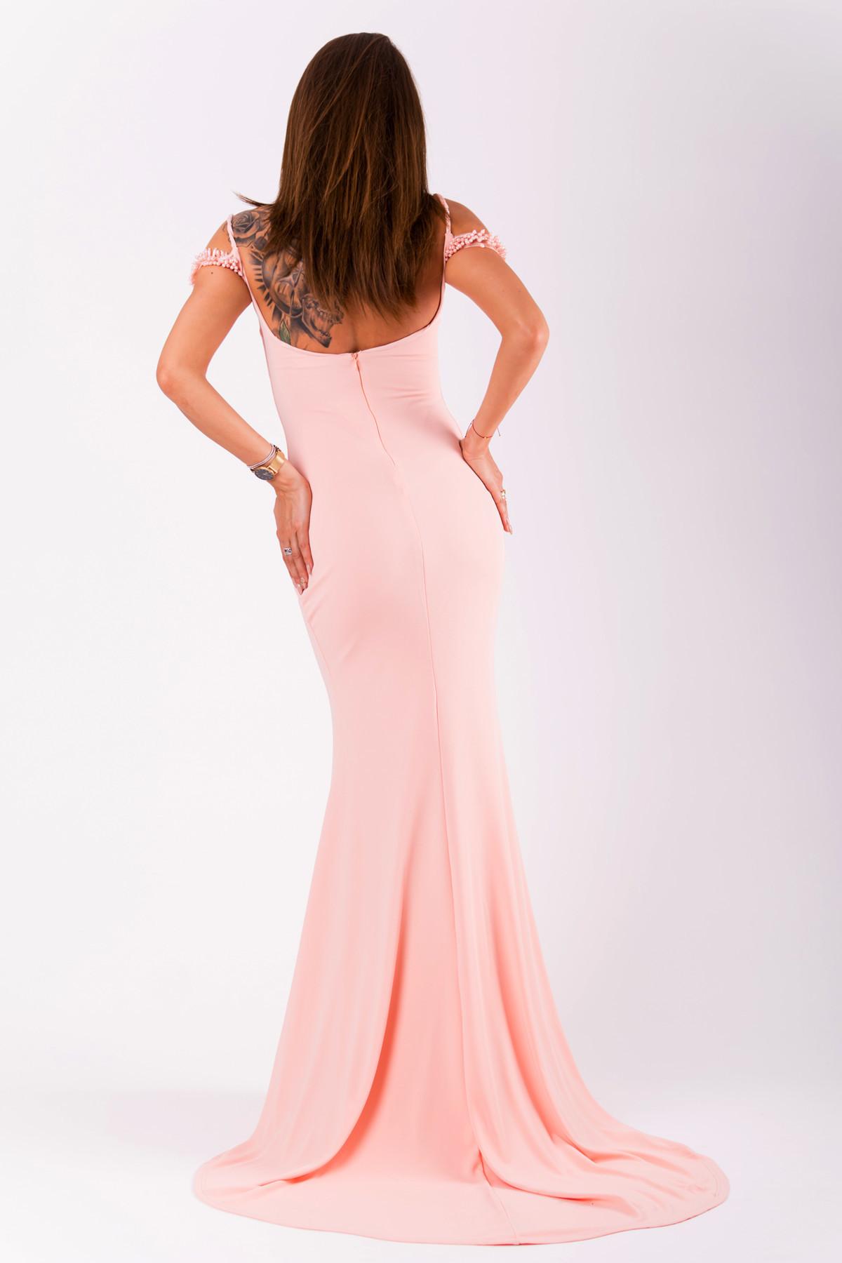 Dámske šaty EVA & LOLA ružové na ramienka dlhé s vlečkou - Ružová / S - EVA & LOLA ružová S