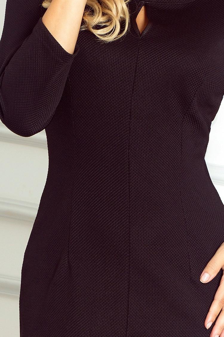 Dámske spoločenské šaty s 3/4 rukávom čierne - Čierna / L - Numoco L