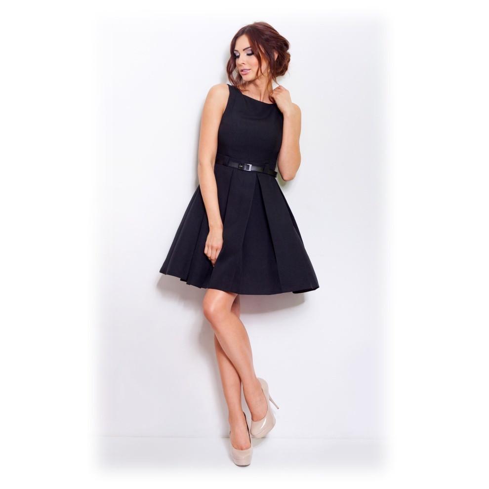 Dámske spoločenské šaty FOLD so skladmi a opaskom stredne dlhé čierne - Čierna - Numoco čierna S