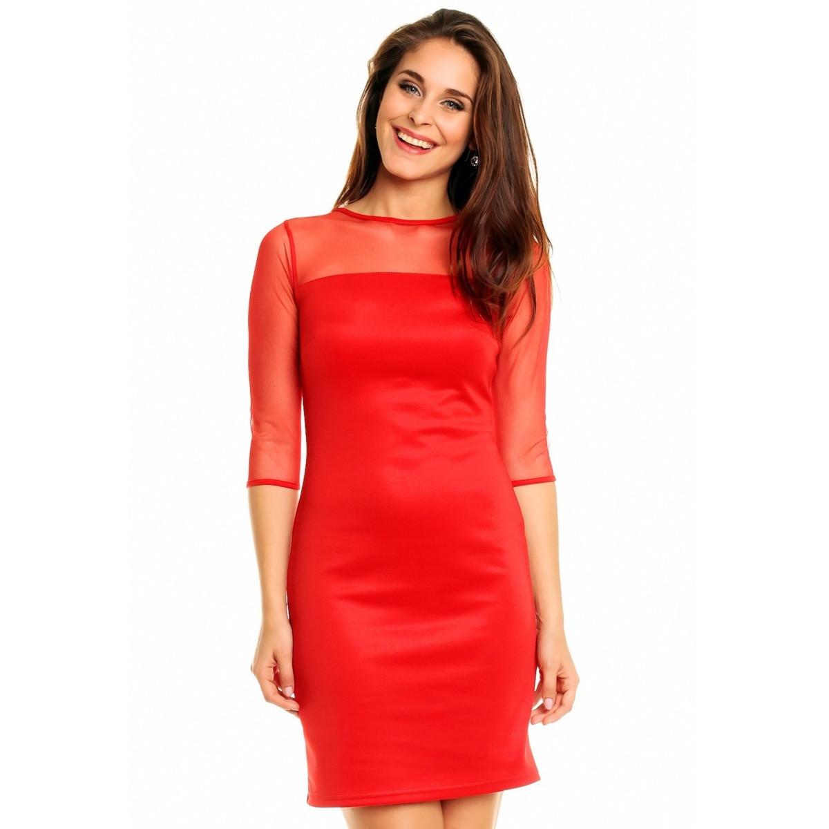 Spoločenské a párty šaty MAYAADI s šifónovým živôtiku a rukávy červené - Červená - MAYAADI červená L