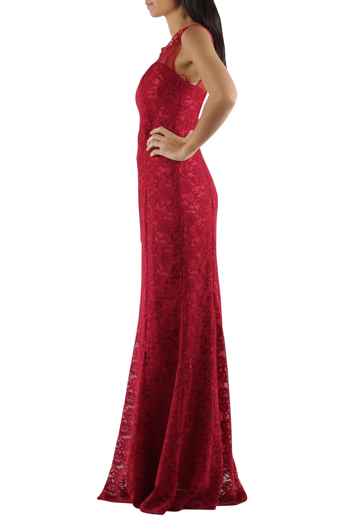 Spoločenské a plesové šaty krajkové dlhé luxusné CHARM'S Paris červené - Červená - CHARM'S Paris XS